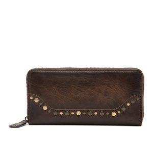 Frye Melissa Brown Leather Western Stud Zip Wallet